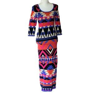 Flying Tomato Multi Color Maxi Sweater Dress S